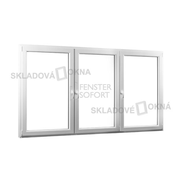 Trojkřídlé plastové okno se sloupkem PREMIUM - SKLADOVÁ-OKNA.cz - 2360 x 1540