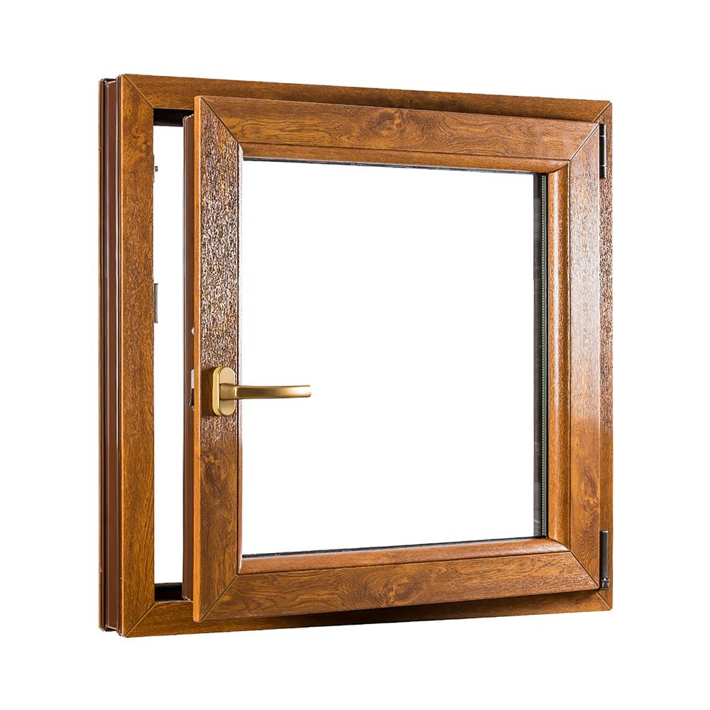 Levně PREMIUM plastové okno 800x900 mm (80x90 cm) bílé/zlatý dub otvíravo-sklopné pravé