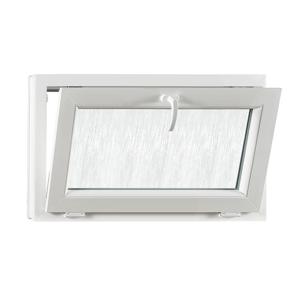 Levně PREMIUM plastové okno 900x550 mm (90x55 cm) bílé sklopné sklo kůra