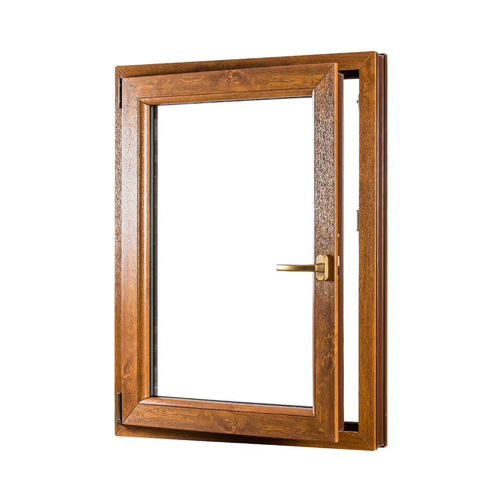 Levně Jednokřídlé plastové okno PREMIUM otvíravo-sklopné levé 800 x 1200 mm barva bílá/zlatý dub
