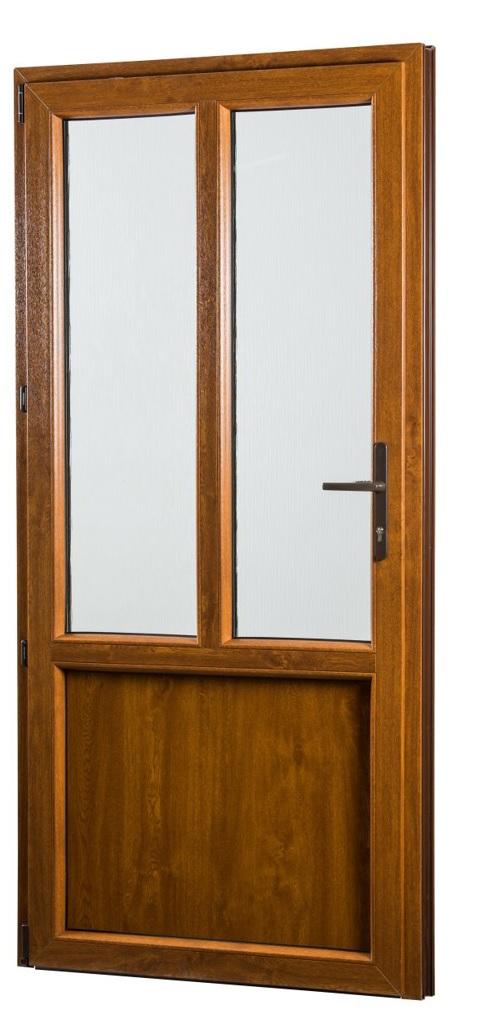 SKLADOVA-OKNA Vedlejší vchodové dveře PREMIUM levé 980 x 2080 mm barva bílá/zlatý dub