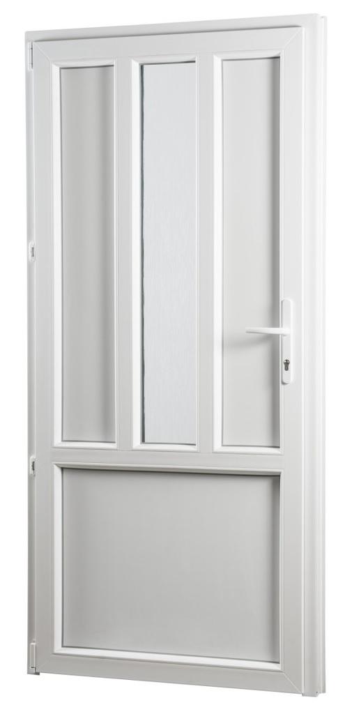 Skladova-okna Vedlejší vchodové dveře PREMIUM 318 levé 980 x 2080 mm bílá sklo ornament kůra
