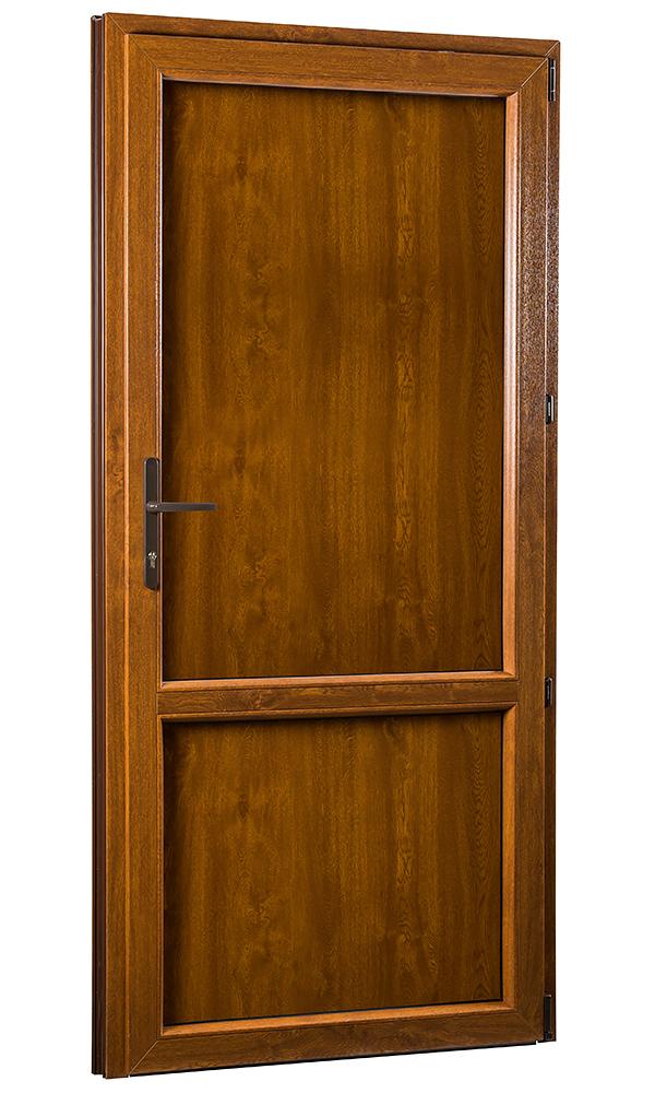 Levně Vedlejší vchodové dveře PREMIUM 323 plné pravé 980 x 2080 mm bílá/zlatý dub