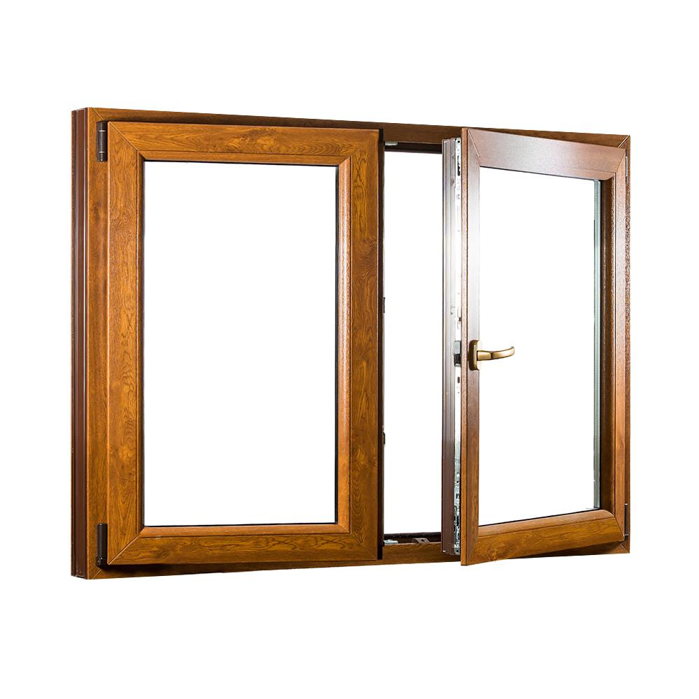 Levně Dvoukřídlé plastové okno se štulpem PREMIUM 1250 x 1100 mm barva bílá/zlatý dub
