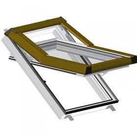 SKLADOVA-OKNA Plastové střešní okno Premium - barva bílá hnědé oplechování, 55cm x 78cm